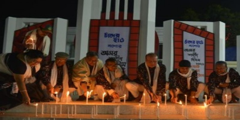 যশোরে ভাষাশহীদদের শ্রদ্ধা জানাতে জ্বলে উঠলো ৫২শ' মোমবাতি॥