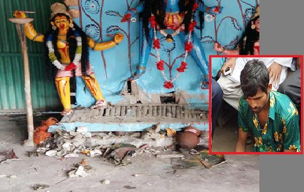 সিরাজগঞ্জে কালি মন্দিরে প্রতিমা ভাঙচুর।।জনতার হাতে যুবক আটক