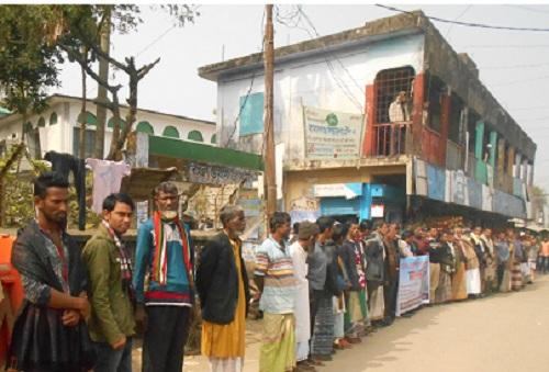 জামালগঞ্জে হাওর বাঁচাও, সুনামগঞ্জ বাচাঁও আন্দোলনের মানববন্ধন